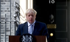 Britain's new Prime Minister, Boris Johnson, delivers a speech outside Downing Street, in London