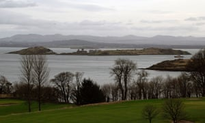 View of Inchcolm island in the Firth of Forth from Aberdour.