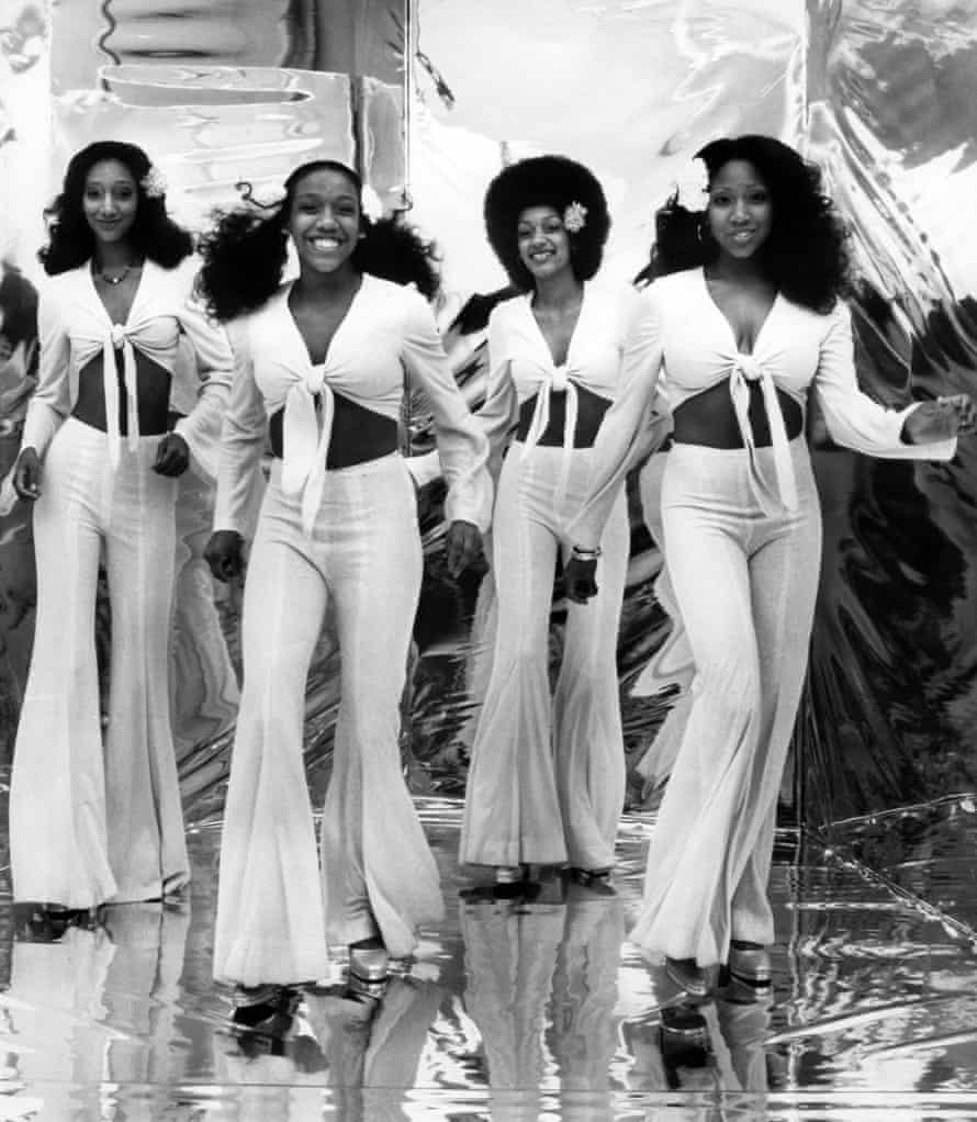 Joni Sledge, right, performing with her sisters in their disco heyday.
