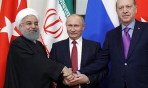 Hassan Rouhani, Vladimir Putin and Recep Tayyip Erdoğan in Sochi