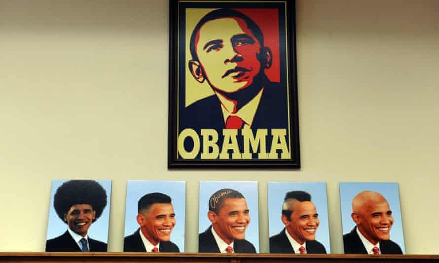 Manipulated pictures of US President Barack Obama with different hairstyles are kept on a display at a barber shop in Los Angeles, California.