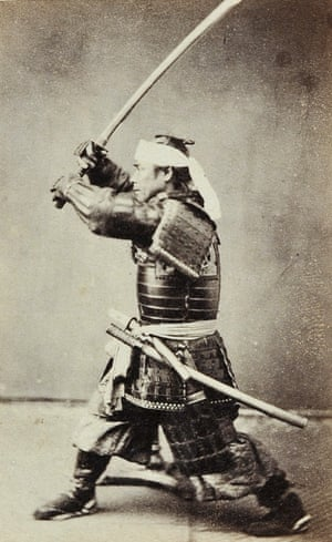 Kubota Sentarô in amour wielding a sword, Yokohama, c1864Albumen print from wet collodion negative. The commander of the Kanagawa garrison.