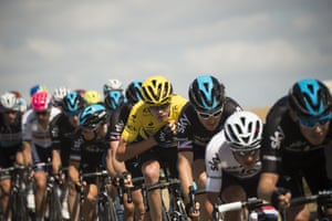 <strong>Stage Eight</strong><br>Stage Location: Rennes to Mur-de-Bretagne<br>Stage Winner: Alexis Vuillermoz<br>Chris Froome rides in the pack, protected by his teammates