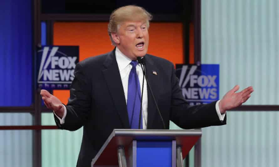 Donald Trump participates in a debate sponsored by Fox News on 3 March 2016 in Detroit, Michigan.
