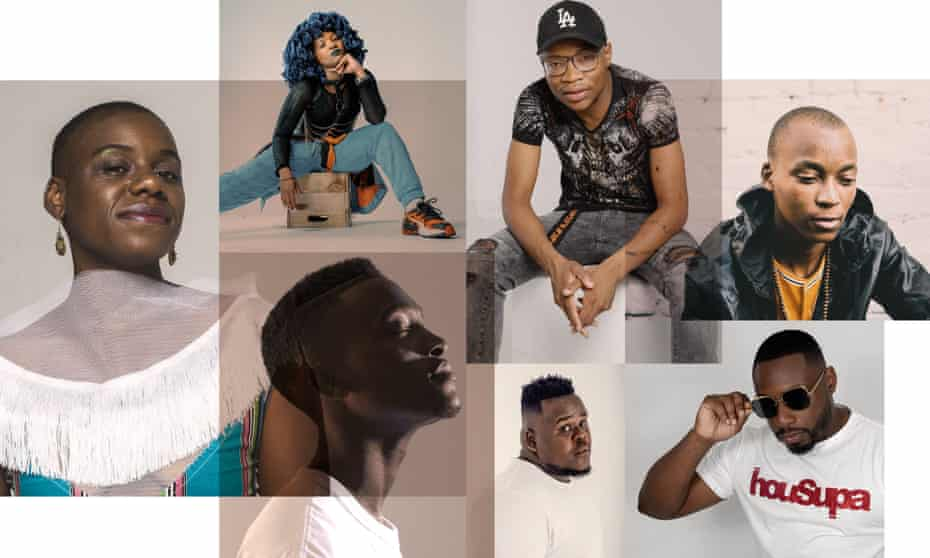 'An ungovernable wildfire' … clockwise from left, Jackie Queens, Moonchild Sanelly, Master KG, Griffit Vigo, Supa D, Masive Q, DJ Lag.