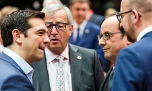 The Greek prime minister Alexis Tsipras talks to European Commission president Jean-Claude Juncker, French president Francois Hollande and Belgian Prime Minister Charles Michel on the last day of the crucial talks, on 12 July, 2015.