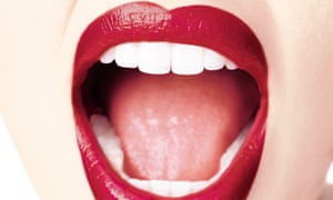 Close up of mouth with red lipstick