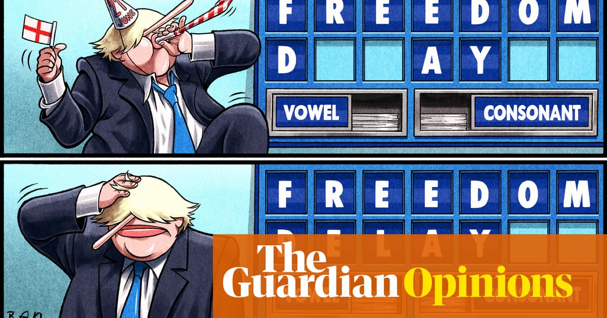 Ben Jennings on Boris Johnson postponing the end of restrictions — cartoon
