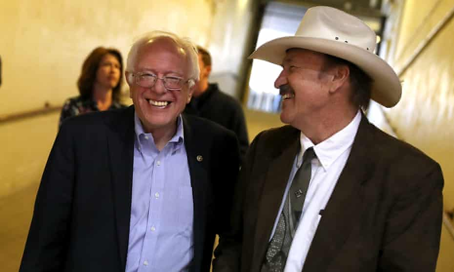 Rob Quist, the folk-singing political neophyte who is running against Greg Gianforte, at a campaign rally in Missoula with Bernie Sanders.