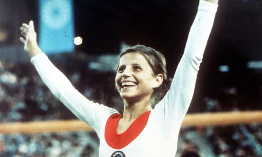 Olga Korbut celebrates after winning one of her gold medals at the Olympics Games in Munich in 1972.