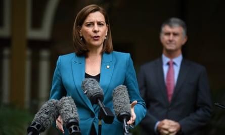 Queensland opposition leader Deb Frecklington and her deputy Tim Mander