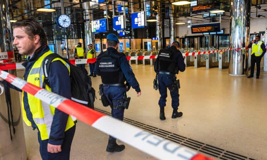 Police at Amsterdam's Central Station on Friday, following the incident.