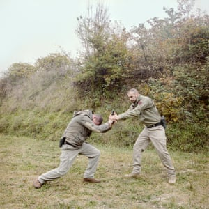 Go ahead punk … two personal bodyguards during a disarming training session at a private range in Passignano sul Trasimeno, Perugia