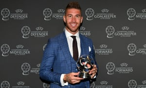 Sergio Ramos with his award as the Champions League defender of the season