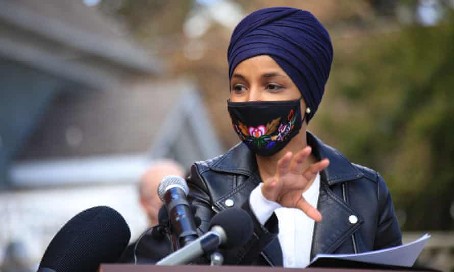 Congresswoman Ilhan Omar holds a 'Stop Asian Hate' press conference in Minneapolis, Minnesota, on 31 March.