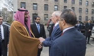 Saudi crown prince Mohammed bin Salman is welcomed by MIT president Rafael Reif in Boston, Massachusetts on 25 March.