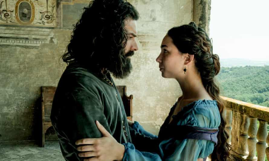 Aidan Turner as Leonardo and Matilda de Angelis as Caterina da Cremona in the new Amazon series