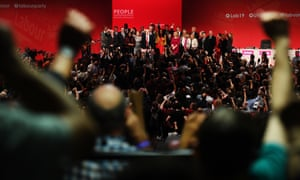 Jeremy Corbyn Addresses The 2019 Labour Party ConferenceBRIGHTON, ENGLAND - SEPTEMBER 24: Labour leader Jeremy Corbyn and his shadow cabinet, along with delegates sing the Red Flag and Jerusalem following his keynote speech to conference on September 24, 2019 in Brighton, England. After the Supreme Court ruled the prorogation of Parliament was unlawful, the House of Commons Speaker John Bercow announced that Parliament would re-convene at 11.30am Wednesday morning. Jeremy Corbyn's keynote speech to Labour Conference was brought forward to Tuesday afternoon in place of Deputy Leader Tom Watson's speech which was cancelled. (Photo by Leon Neal/Getty Images)