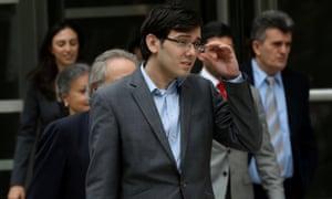 Martin Shkreli exits US district court in Brooklyn, New York.