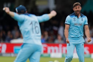 Liam Plunkett celebrated as Kane Williamson fell with New Zealand on 103. Further wickets soon followed, reducing the Kiwis to 175-5