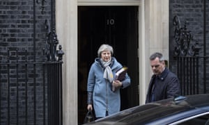 Theresa May leaving Downing St for PMQs.