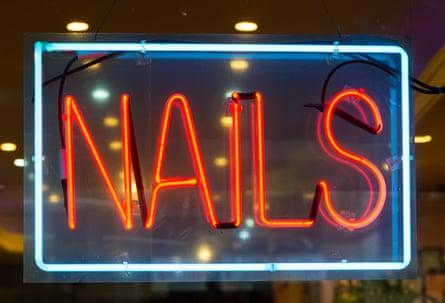A nail bar sign