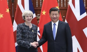 Theresa May with the Chinese president, Xi Jinping in 2016.