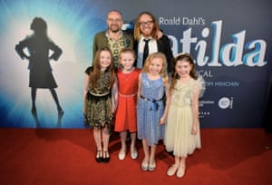 Writers Dennis Kelly and Tim Minchin with the four Matildas: Bella Thomas, Sasha Rose, Georgia Taplin and Molly Barwick.