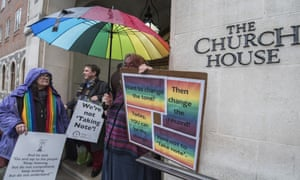 People demonstrating outside Church House in London on Wednesday