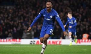Callum Hudson-Odoi of Chelsea celebrates.