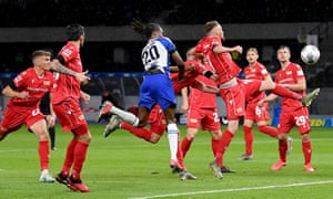 Dedryck Boyata (centre) nods in Hertha Berlin's fourth goal to seal victory in a game where the visitors failed to register a shot on target.