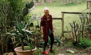 Karen Ashby in her backyard at Golden Gate Village in Marin City, California.