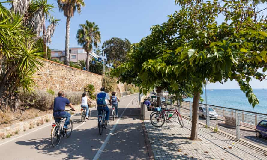 The Sanremo to Imperia cycle path in western Liguria, Italy.