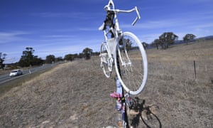 The temporary 'ghost bike' memorial in honour of the late Mike Hall is seen in Wiliamsdale, near Canberra.