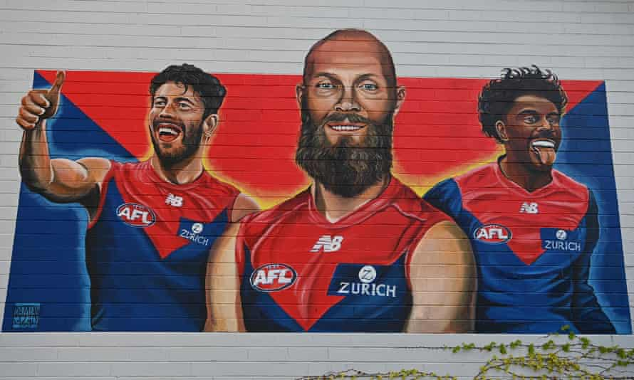 A Melbourne Demons mural by Damian Cazaly