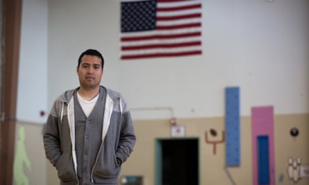 Francisco Rodríguez, 25, is seen in the gym at the elementary school where he works in Portland. Oregon.