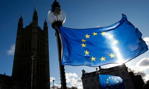 An EU flag attached to a street light in Westminster