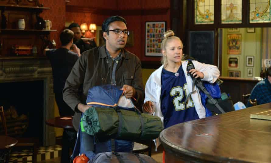 Patel as Tamwar with Maddy Hill as Nancy in Eastenders.