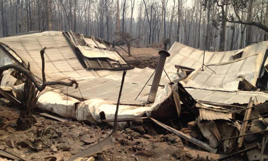 The burnt-out remains of Stu and Heather Mackay's home in Nymboida.
