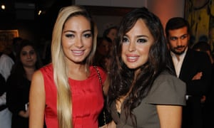 Arzu and Leyla Aliyeva attend a magazine launch in London in 2011.