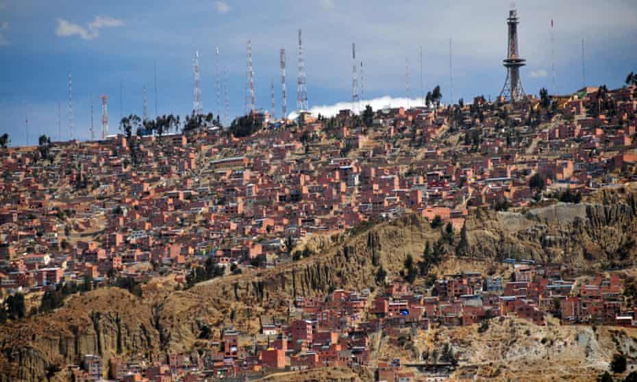 The hillside shantytowns of El Alto, Bolivia.