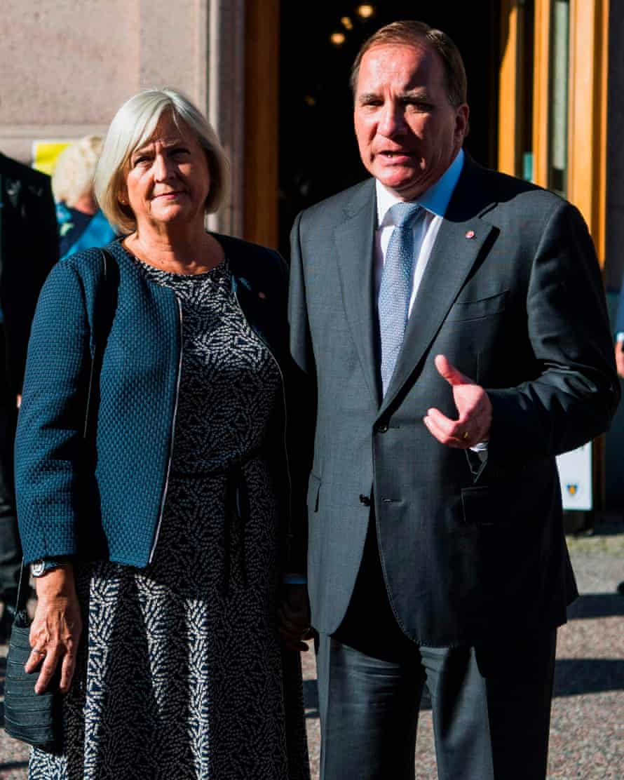 Stefan Lofven, the prime minister and leader of the Social Democratic party, with wife Ulla Lofven