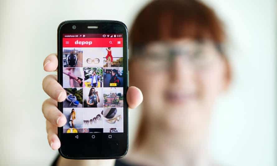 The Depop app on a phone.