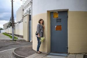 Olga Sieviaryniec waits for her husband Paval outside a detention center on Akrestsin Street, Minsk, Belarus, on 22 July 2020