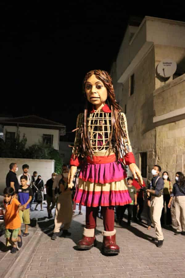 Little Amal, the Syrian refugee puppet, in Gaziantep, Turkey, in July. The puppet will travel 8,000km as part of the theatre project The Walk.