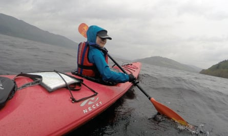 Amy canoeing on Loch Ness.