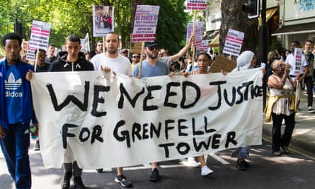 Protesters in London on an organised 'day of rage' march, 21 June, following the Grenfell Tower disaster.