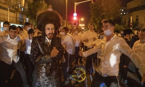 Ultra-Orthodox Jews chant slogans during a protest against the restrictions on gatherings for public prayers despite a new nationwide lockdown order aimed at curbing a raging coronavirus outbreak in Bnei Brak, Israel, Sunday, 20 September 2020.