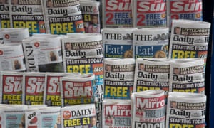 Stand of tabloid newspapers