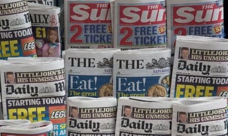 Tabloid papers at a newsstand